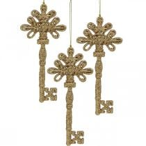 Decoration key, Christmas decoration with glitter, Christmas tree decorations Golden H15.5cm 12pcs