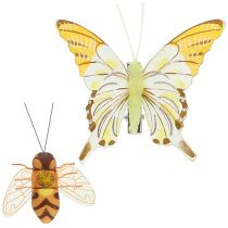 Butterfly, bee decoration on clip 4cm - 8cm 9pcs