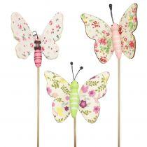 Butterfly on a wooden stick 5.5cm - 7cm 18pcs