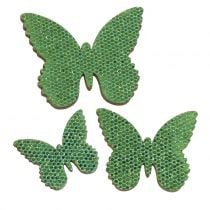 Decoration to control Butterfly Green-Glitter 5/4 / 3cm 24pcs