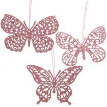 Decoration to hang Schmetterling Pink Glitter10cm 6pcs