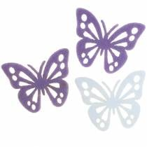 Felt butterfly purple / white 3.5x4.5cm 54 pieces table decoration