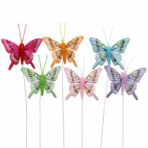 Decorative butterfly with wire 5cm 24pcs sorted