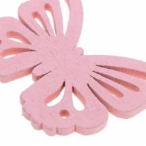 Scattered butterfly white, yellow, pink assorted wood 5cm 40p