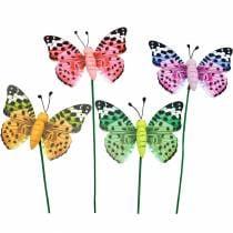 Decorative butterfly on a stick, flower plug, spring decoration, 16pcs