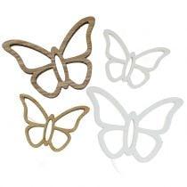 Wooden butterfly white / nature 3cm - 4,5cm 48pcs