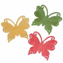 Butterfly wood orange / yellow / green 4cm 72 pieces for table decoration
