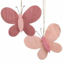 Butterfly for hanging wood pink 13cm x 22cm 2pcs