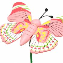 Flower pin butterfly wood assorted 7.5cm 16pcs