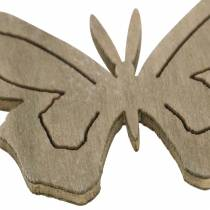 Butterfly wood white / cream / brown 4cm 72 pieces table decoration spring