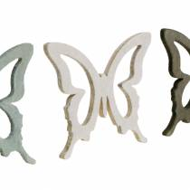 Butterfly to sprinkle 4cm brown, light gray, white Summer sprinkling wood decoration 72pcs