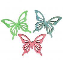 Butterflies Mix Wood Pink, Green, Blue 4cm 72pcs
