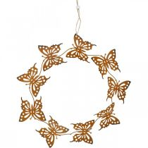 Butterfly decoration, spring decoration to hang, wreath ring, patina Ø30cm 2pcs