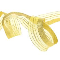 Adornment ribbon with lurex stripe gold 40mm 20m