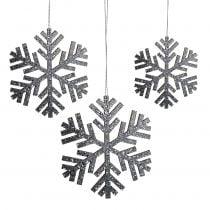 Snowflake Hanging Decoration Gray Ø8cm - Ø12cm 9pcs