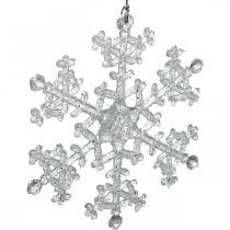 Decorative snowflake, winter decoration, ice crystal to hang, Christmas H10cm W9.5cm plastic 12pcs