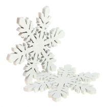 Wooden snowflakes white Ø3,7cm 48pcs