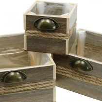Planter box, wooden drawer, flower box, 26/20/14 cm, set of 3