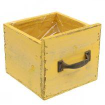 Decorative drawer vintage planter wood yellow 12.5 × 12.5 × 11cm