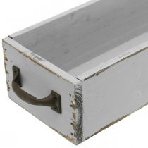 Decorative tray wood plant drawer Shabby Chic gray 65 × 11 × 7cm