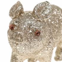 Decorative pig glitter champagne 10cm 8pcs