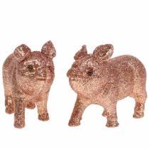 Deco Pig Glitter Pink 10cm 8pcs