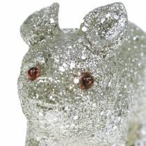 Deco Pig Glitter Silver 10cm 8pcs