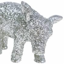 Decorative pig New Year's decoration silver glitter 3.5cm 2pcs