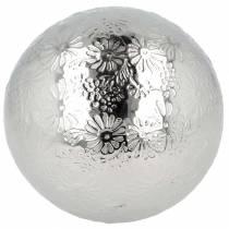 Floating ball flowers silver metal Ø10cm