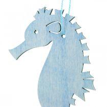 Seahorse to hang blue, white hanger maritime decoration 8pcs