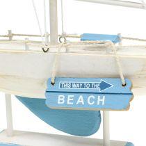 Deco sailboat in wood blue, white H41,5cm