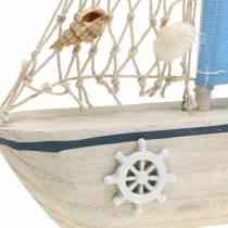 Decorative sailing boat wood blue white natural 20x4cm H30cm
