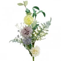 Silk flowers in a bunch, summer decorations, chrysanthemums and spherical thistles, artificial flowers L50cm