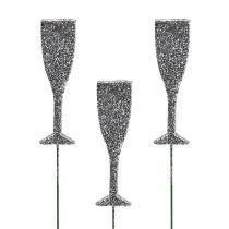 Champagne glass on a stick Silver with glitter 8cm L28cm 24pcs