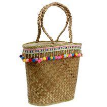 Shopping bag nature with pompoms 40cm x 32.5cm