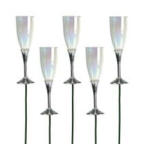 New Year's Eve Decor Champagne glass on a stick silver 7,5cm L27cm 12pcs