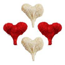 Sisal heart 5cm red/white 12pcs