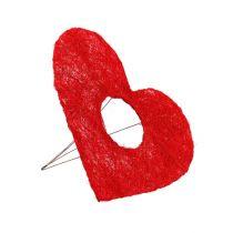 Sisal heart cuff red 15cm 10pcs.