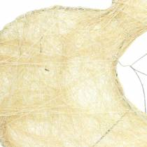 Sisal sleeve heart bleached 16cm 10pcs