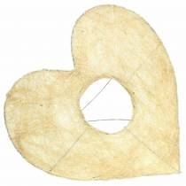 Sisal sleeve heart bleached 25.5cm 10pcs