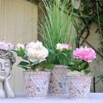 Summer decoration flower pot metal roses planter Ø11.5cm H10.5cm