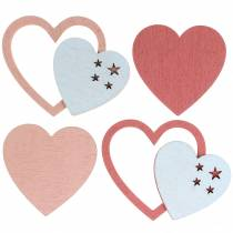 Lilac deco heart pink / white 24p