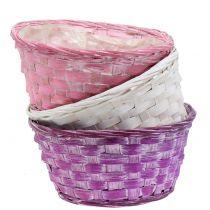 Woodchip bowl round Purple / White / Pink Ø19cm 8pcs
