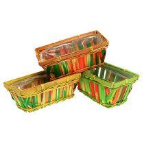 Spank basket set angular multicolored 12pcs 20cm x 11cm