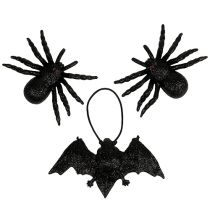 Spider, bat figures black 10cm, 14cm 3pcs