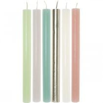 Taper candles colored through different colors 21 × 240mm 12pcs