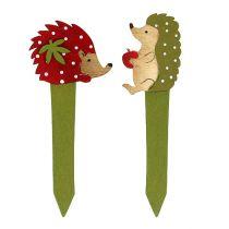 Plug hedgehog red, green 13cm 16pcs