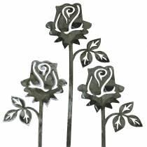 Metal plug rose silver-gray, white washed metal 20cm × 8cm 12pcs