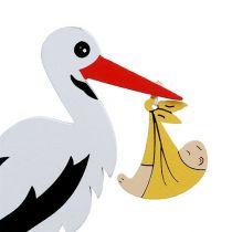 Plug stork with baby 10cm L28cm 14pcs