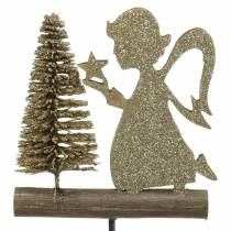 Decorative plug reindeer and angel with fir tree gold glitter wood H45cm 3pcs
